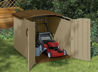 lawn mower in outdoor shed - available from Home Depot