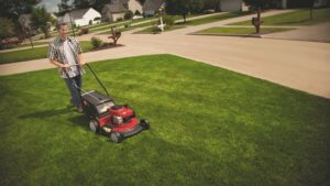 Troy-Bilt lawn mower cutting a lawn